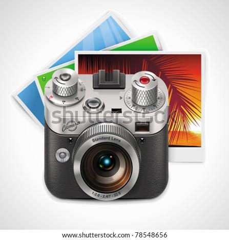 Vector retro camera and photos XXL icon - stock vector