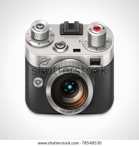 Vector retro camera XXL icon - stock vector