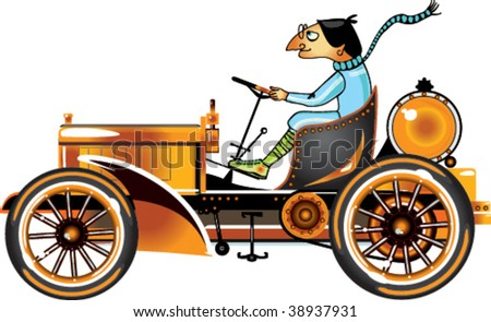 Vector retro car. - stock vector