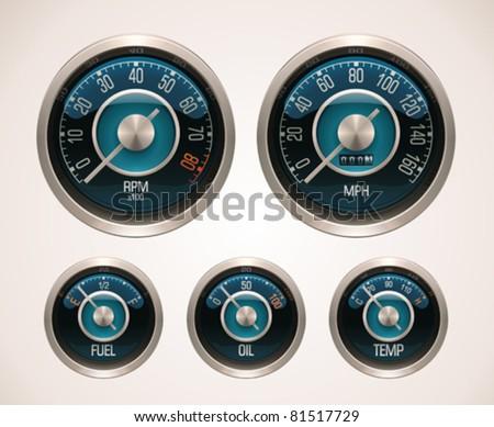 Vector retro car gauges - stock vector