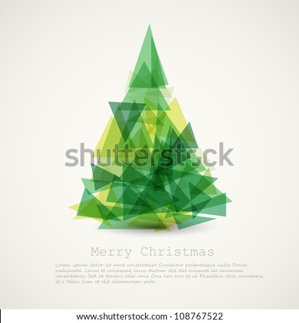 Vector retro card with abstract green christmas tree - stock vector