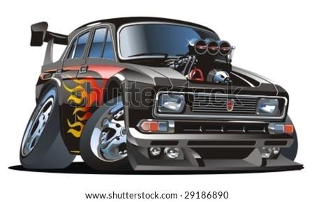 Vector retro cartoon hotrod. - stock vector