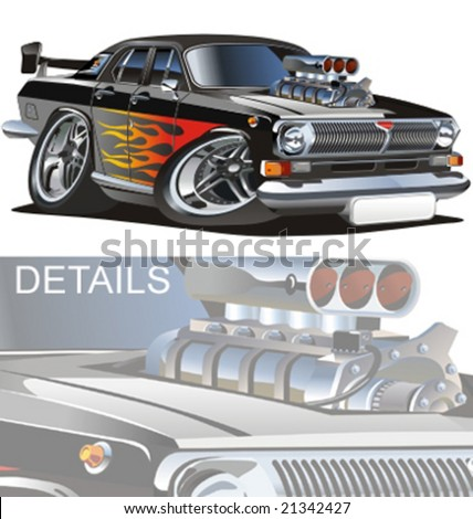 Vector retro cartoon hotrod. More muscle cars see in my portfolio - stock vector