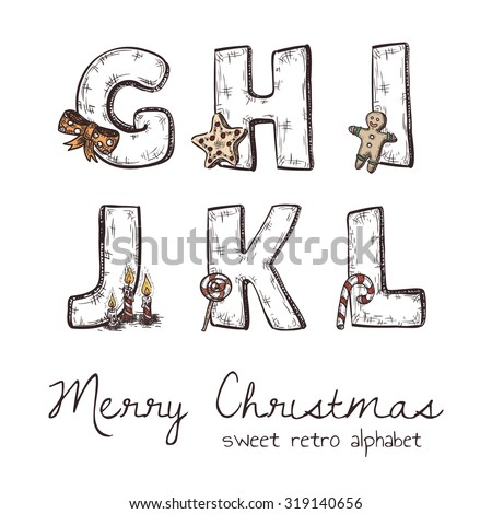 Vector retro christmas alphabet with symbols of holiday isolated in white - g, h, j, k, l, i - stock vector