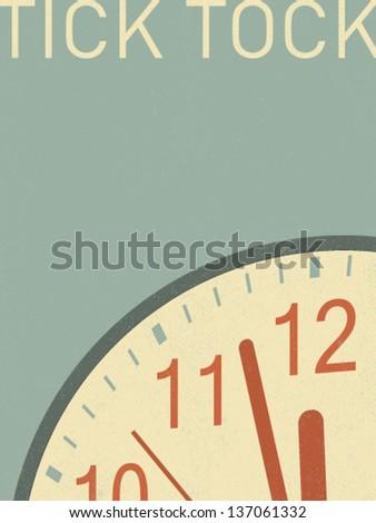 vector retro clock illustration - stock vector