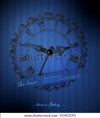 vector retro clock on a blue striped background - stock vector
