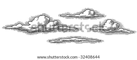 vector retro clouds pattern, engraved looking design element - stock vector