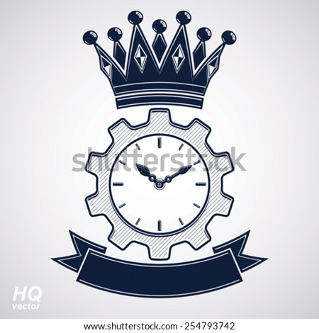Vector retro cog wheel and clock with crown, business organizer symbol. Production process planning conceptual icon. Engineering design element gear. Imperial theme emblem. - stock vector