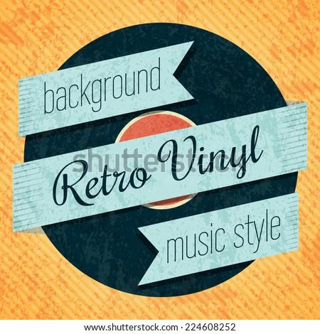 Vector retro color vinyl record card. Eps10 - stock vector