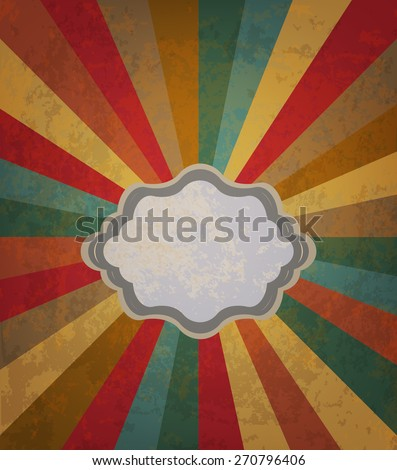 Vector retro colored sun burst background - stock vector