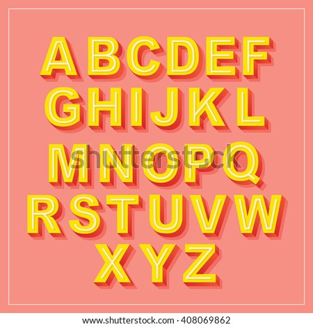 Vector Retro 3D Font with shadow. Vintage Alphabet on pink background Set - stock vector