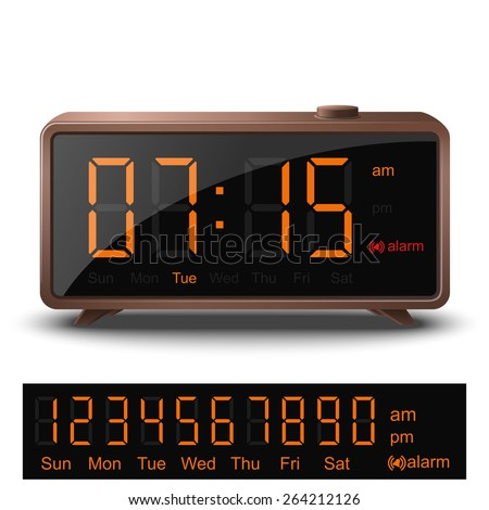 Vector retro digital alarm clock with orange numbers isolated on white background   - stock vector