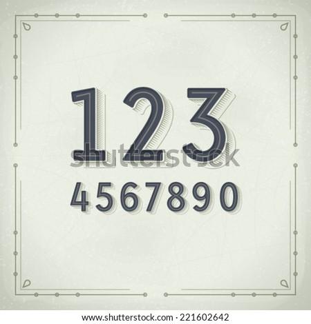 Vector Retro Digits. Vintage Typography - stock vector