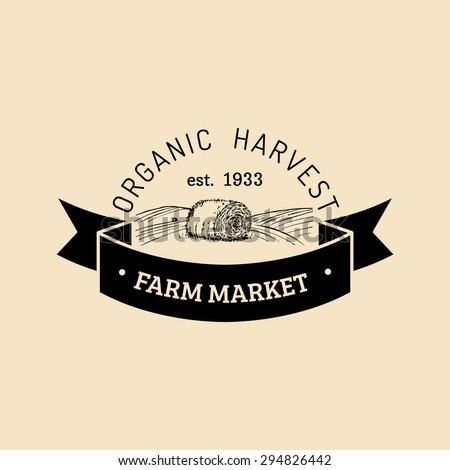 Vector retro farm fresh logotype. Vintage farm logo. Organic farm logo. Farm sign. - stock vector