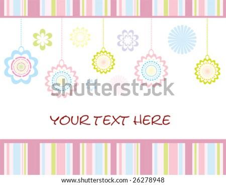 vector retro floral card - stock vector