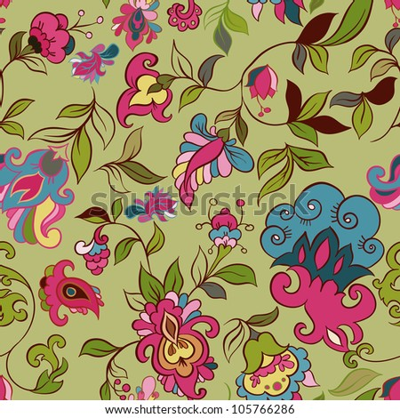 Vector retro floral seamless pattern - stock vector