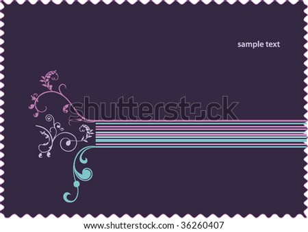 vector retro floral stamp background - stock vector