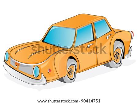 Vector retro funny orange cartoon car. Crazy automobile. - stock vector