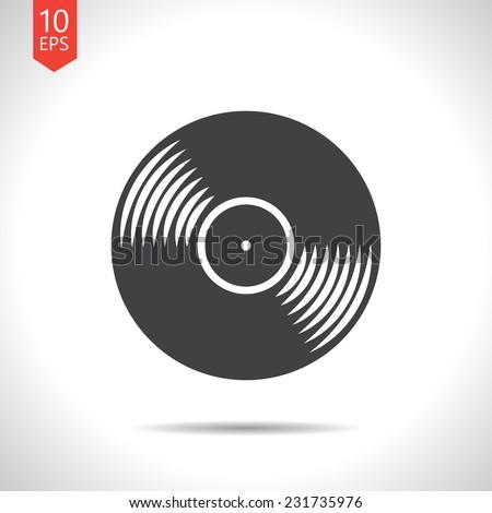 Vector retro gray vinyl record icon. Eps10 - stock vector