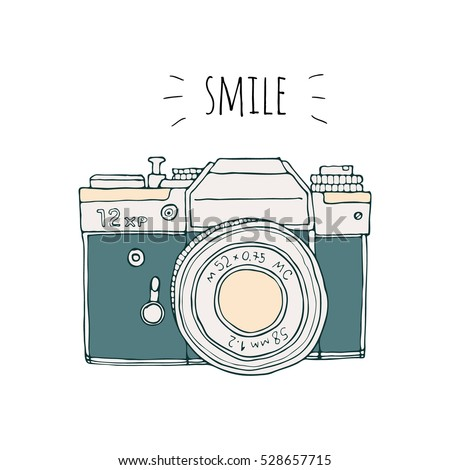 Vector Retro Hand Drawn Hipster Photo Camera Isolated On White Background Vintage Illustration For Design