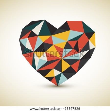 Vector retro heart made from color triangles - stock vector