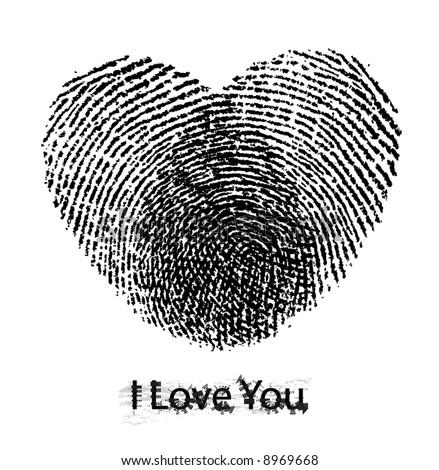 vector retro hearts with fingerprints - stock vector