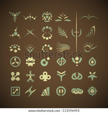 Vector Retro Icons Set - stock vector