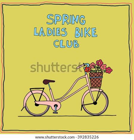 Vector retro Illustration Bicycle, ladies bike, ladies bike club logo - stock vector