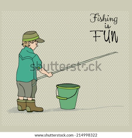 vector retro illustration of cute boy fishing - stock vector