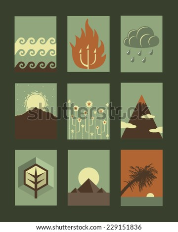Vector Retro Illustrations Collection: Nature  - stock vector