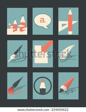 Vector Retro Illustrations Collection: Write and Draw  - stock vector