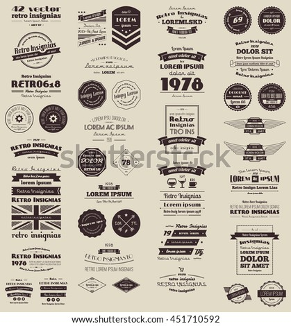 vector retro insignias, Banners and badges. Vector objects are grouped and separated by layers.  Free font used.