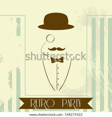 Vector Retro Invitation Card for Party with Silhouette Man - stock vector