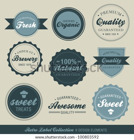 Vector Retro Label Collection - stock vector