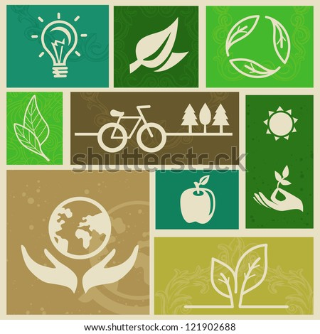 Vector retro labels with ecology signs and icons