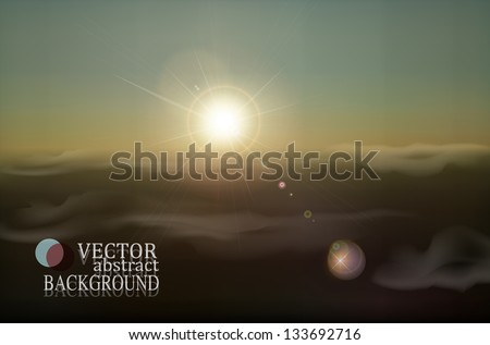 vector retro landscape with clouds and sun - stock vector