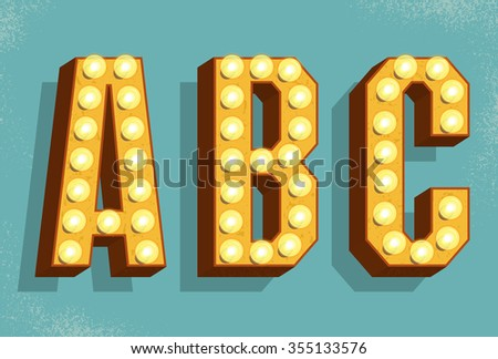 Vector retro letters with light bulbs. Old Vintage Style Marquee Letters A, B, C. Vector