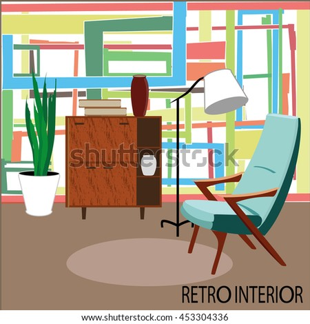 Vector retro living room.
