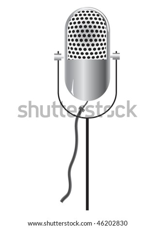 vector retro microphone icon isolated on white - stock vector