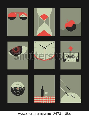 Vector Retro Minimal Illustrations Set: Objects and Natural Backgrounds  - stock vector