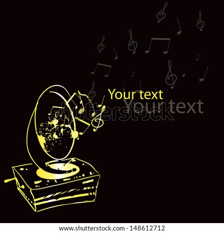 Vector retro music card with a golden gramophone, G clef and notes; could be used for different occasions such as: a bitrthday card, advertisement, flyer, banner, cover, template  and so on - stock vector