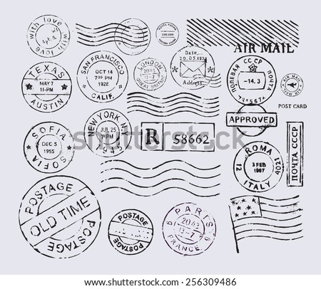 Vector retro postage stamp on gray background - stock vector
