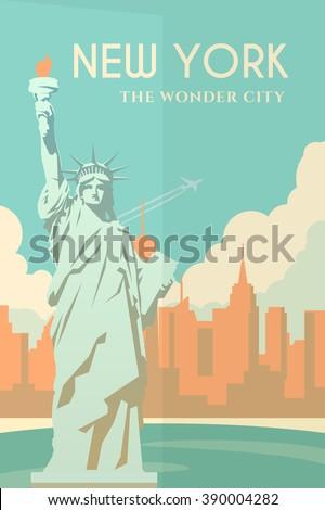 Vector retro poster in art Deco style. New York. Cityscape. The statue of liberty. Seaport. Flat design. - stock vector