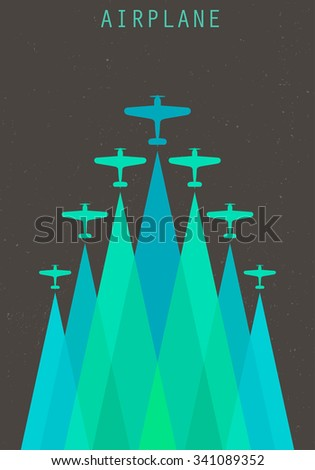 Vector retro poster with biplanes and airplane stream jet, pop-art minimalistic style, for travel agencies, aviation companies