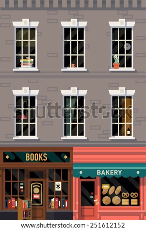 Vector retro printable poster design background on downtown grey brick building structure facade with detailed windows, retro bookshop and local bakery storefronts at street level  - stock vector