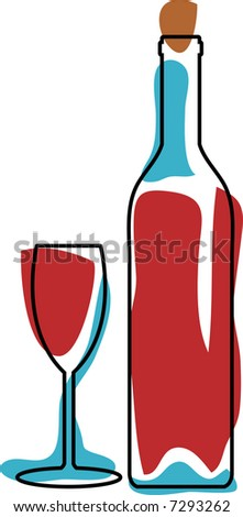 vector retro red wine with glass
