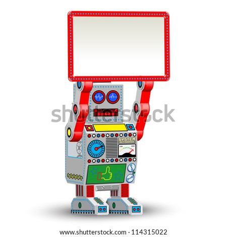 Vector retro robot toy with table - stock vector