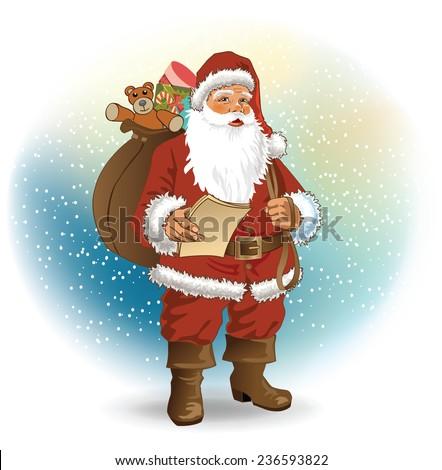 Vector retro Santa Claus - stock vector