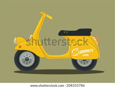 Vector retro scooter in flat style - stock vector