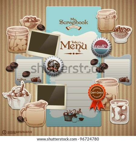 Vector Retro Scrapbook Element for Cooking Diary - stock vector